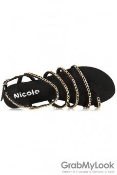 Black Gold Metal Chain Straps Punk Rock Thumb Flats Sandals Shoes
