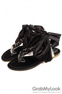 Satin Silky Scarf Ankle Straps Metal Chain Black Flip Flop Flats Sandals Shoes