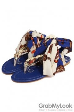 Satin Silky Scarf Ankle Straps Metal Chain Blue Flip Flop Flats Sandals Shoes