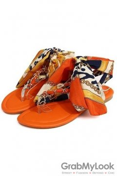Satin Silky Scarf Ankle Straps Metal Chain Orange Flip Flop Flats Sandals Shoes