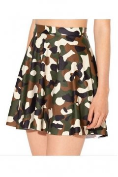 Green Army Camouflage Skater A Line Dress Mini Skirt