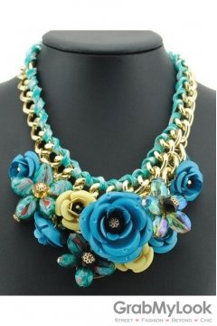 Tribal Exotic Blue Rose Flower Chain Up Bohemia Vintage Gold Punk Rock Necklace