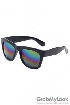 Vintage Black Oversized Rainbow Rectangular Polarized Mirror Lens Sunglasses