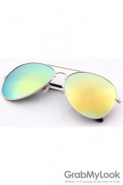 Vintage Pilot Aviator Blue Yellow Lens Gold Metal Frame Sunglasses