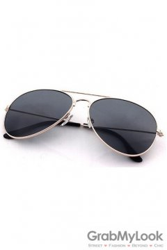 Vintage Pilot Aviator Black Lens Gold Metal Frame Sunglasses