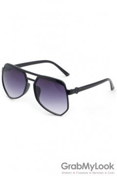 Vintage Pilot Aviator Oversized Black Frame Purple Transparent Polarized Lens Sunglasses