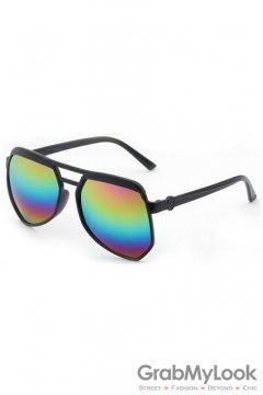 Vintage Pilot Aviator Oversized Black Frame Rainbow Mirror Polarized Lens Sunglasses