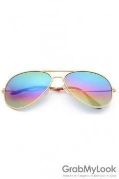 Vintage Pilot Aviator Light Rainbow Lens Gold Metal Frame Sunglasses