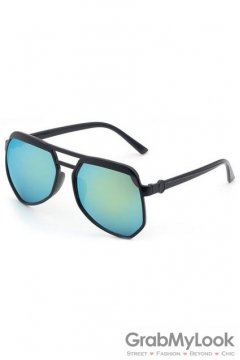 Vintage Pilot Aviator Oversized Black Frame Light Blue Green Mirror Polarized Lens Sunglasses