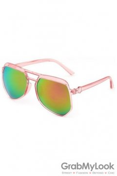 Vintage Pilot Aviator Oversized Pink Transparent Frame Rainbow Mirror Polarized Lens Sunglasses