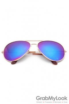 Vintage Pilot Aviator Purple Blue Lens Gold Metal Frame Sunglasses