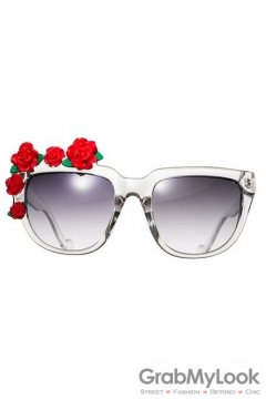 Red Roses Flowers Retro Vintage Baroque Transparent Frame Sunglasses Eyewear