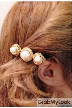 Giant Pearl Gold Metal Classic Vintage Hair Clips Hair Pins