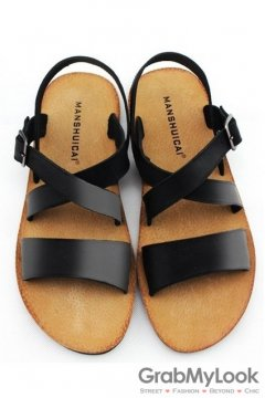 Leather Black Cross Straps Gladiator Roman Mens Flip Flop Slingback Sandals