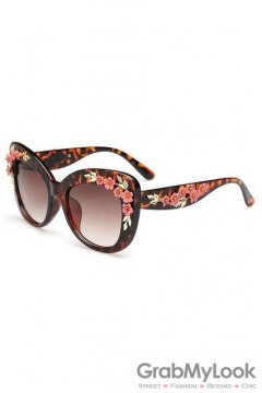 Crystals Diamante Flowers Retro Vintage Baroque Brown Butterfly Sunglasses Eyewear