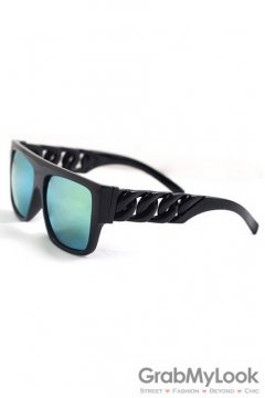Vintage Punk Rock Oversized Black Frame Giant Chain Rectangular Blue Mirror Lens Sunglasses