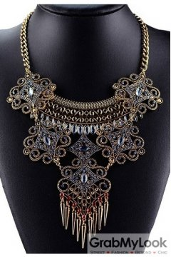 Tribal Exotic Spikes Blue Red Stones Bohemia Vintage Gold Diamante Punk Rock Necklace