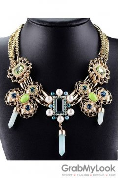 Tribal Exotic Bohemia Vintage Gold Diamante Pearl Beaded Metal Punk Rock Necklace Green Crystal