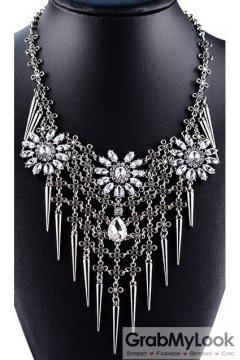 Tribal Exotic Long Spikes Flower Bohemia Vintage Silver Diamante Punk Rock Necklace