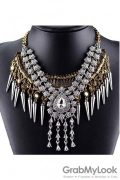 Spikes Tribal Exotic Bohemia Vintage Gold Diamante Beaded Funky Punk Rock Necklace