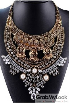 Tribal Exotic Bohemia Vintage Gold Diamante Beaded Funky Punk Necklace