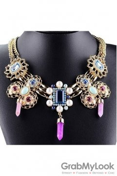 Tribal Exotic Bohemia Vintage Gold Diamante Pearl Beaded Metal Punk Rock Necklace Purple Crystal