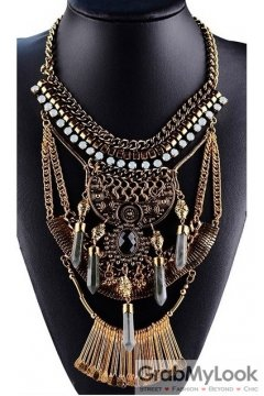 Tribal Exotic Chain Crystal Bohemia Vintage Gold Diamante Punk Rock Necklace