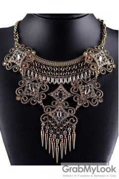 Tribal Exotic Spikes Bohemia Vintage Gold Diamante Punk Rock Necklace