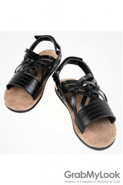 Leather Black Knit Cross Straps Gladiator Roman Mens Sandals