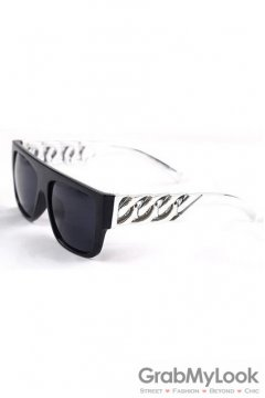 Vintage Punk Rock Oversized Black Frame Silver Metal Chain Rectangular Lens Sunglasses