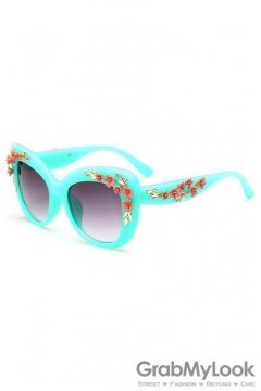 Crystals Diamante Flowers Retro Vintage Baroque Blue Butterfly Sunglasses Eyewear