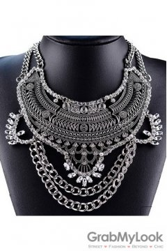 Tribal Exotic Bohemia Vintage Silver Diamante Beaded Metal Punk Rock Necklace