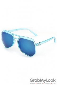 Vintage Pilot Aviator Oversized Blue Transparent Frame Blue Mirror Polarized Lens Sunglasses