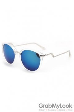 Vintage Clear Transparent Frame Blue Mirror Polarized Round Lens ZigZag Arm Sunglasses