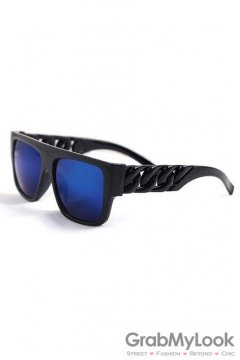 Vintage Punk Rock Oversized Black Frame Giant Chain Rectangular Blue Lens Sunglasses