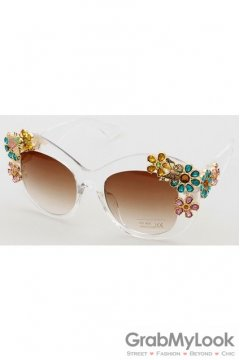 Crystals Diamante Flowers Retro Vintage Baroque Transparent Butterfly Sunglasses Eyewear