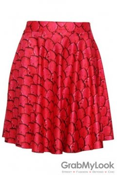 Red Fish Scales Skater A Line Dress Mini Skirt