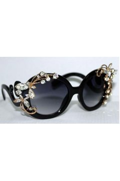 Crystals Diamante White Flowers Retro Vintage Baroque Black Butterfly Sunglasses Eyewear