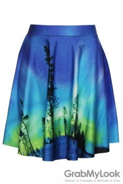 Blue Quiet Lonely Forest Skater A Line Dress Mini Skirt