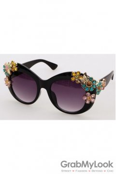Crystals Diamante Flowers Retro Vintage Baroque Black Butterfly Sunglasses Eyewear