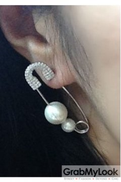 Pearl Diamante Embellished Silver Giant Oversized Earrings
