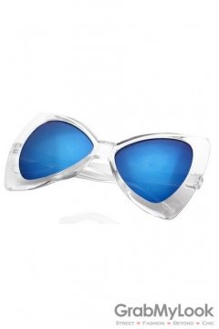 Vintage Bow Cat Eyes Oversized Transparent Frame Transparent Blue Lens Sunglasses