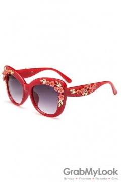 Crystals Diamante Flowers Retro Vintage Baroque Red Butterfly Sunglasses Eyewear