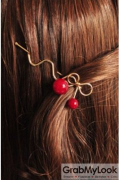 Red Cherry Metal Bow Hair Pins Hair Clips