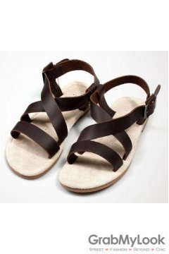 Leather Brown Suede Cross Straps Gladiator Roman Mens Sandals
