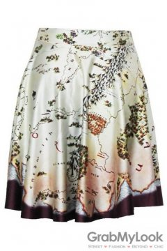 Brown Ancient Map Skater A Line Dress Mini Skirt