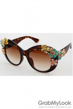 Crystals Diamante Flowers Retro Vintage Baroque Leopard Brown Butterfly Sunglasses Eyewear