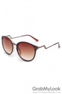 Vintage Brown Frame Brown Transparent Polarized Round Lens ZigZag Arm Sunglasses