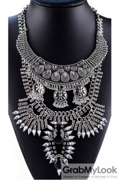 Tribal Exotic Bohemia Vintage Silver Diamante Beaded Metal Punk Rock Necklace Black Stone