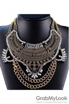 Tribal Exotic Bohemia Vintage Gold Diamante Beaded Metal Punk Rock Necklace